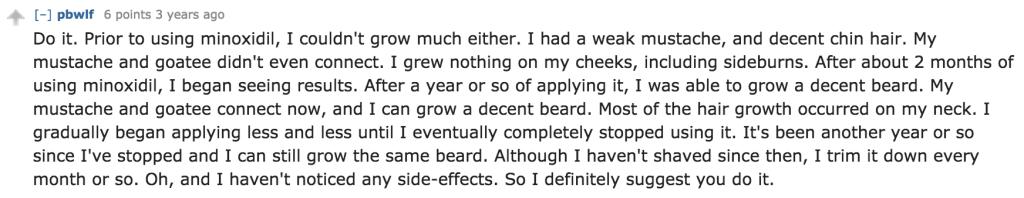 Beard Minoxidil Testimonial Reddit